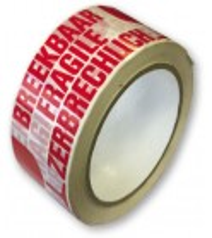 "Tape d'emballage PVC avec impression ""BREEKBAAR-FRAGILE-ZERBRECHLICH"""
